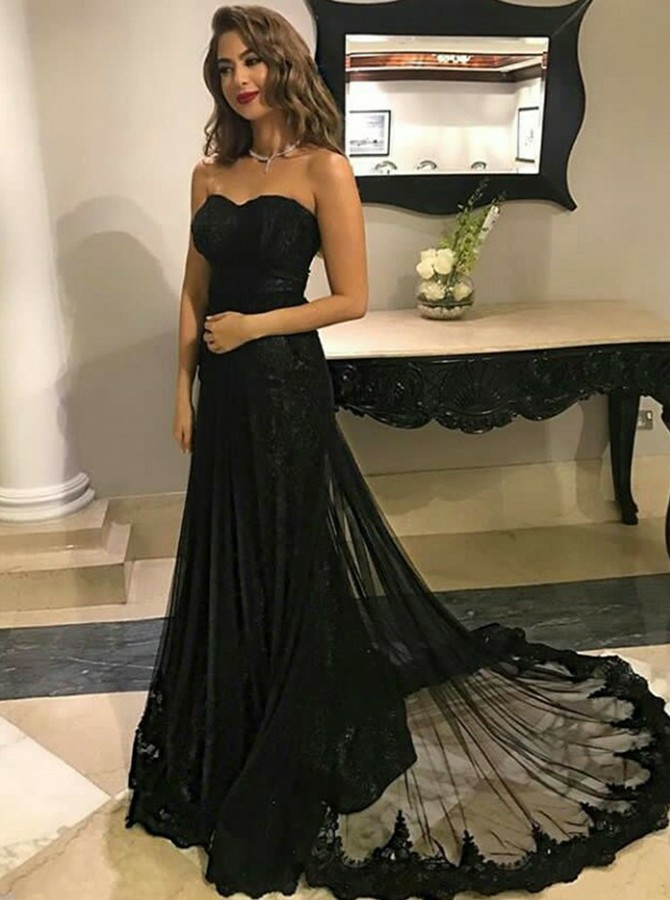 A-Line Sweetheart Sweep Train Black Prom Dress with Appliques
