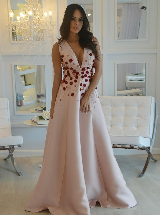 5246da2c86a A-Line V-Neck Sweep Train Pink Prom Dress with Appliques Beading AU ...