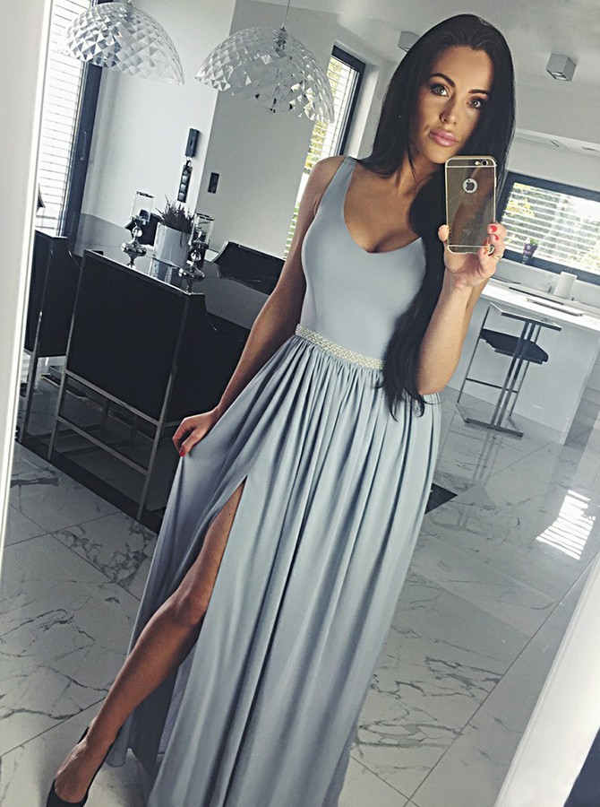 A-Line Scoop Floor-Length Grey Chiffon Prom Dress with Beading Split