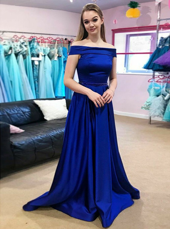 A-Line Off-the-Shoulder Sweep Train Royal Blue Prom Dress with Beading