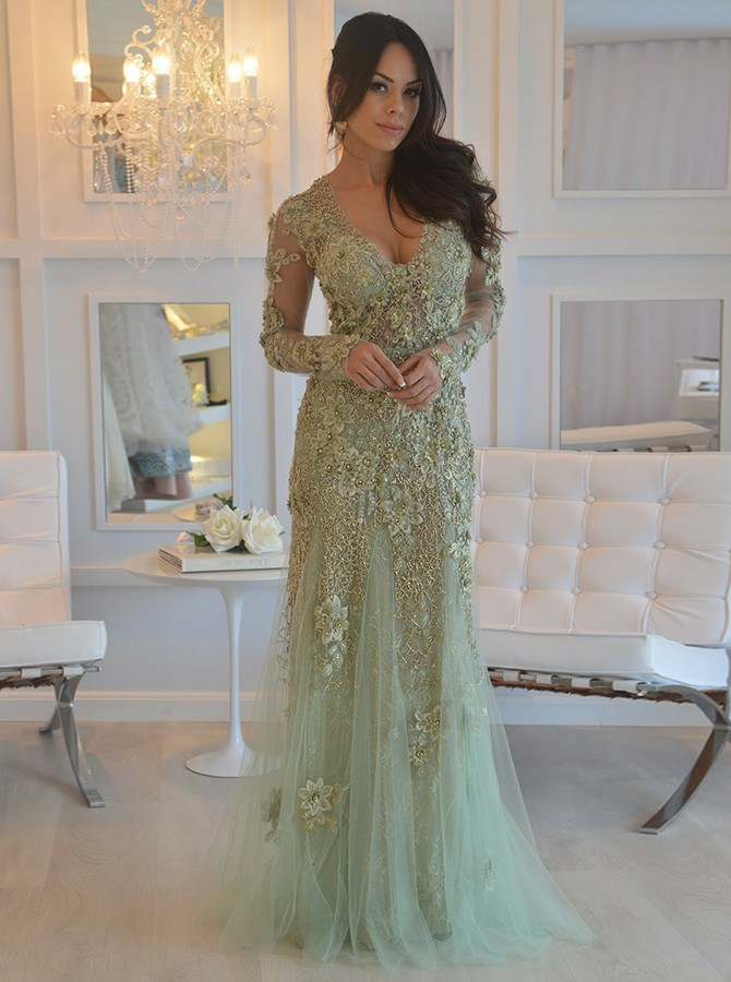 Sheath V-Neck Long Sleeves Sage Prom Dress with Appliques Beading