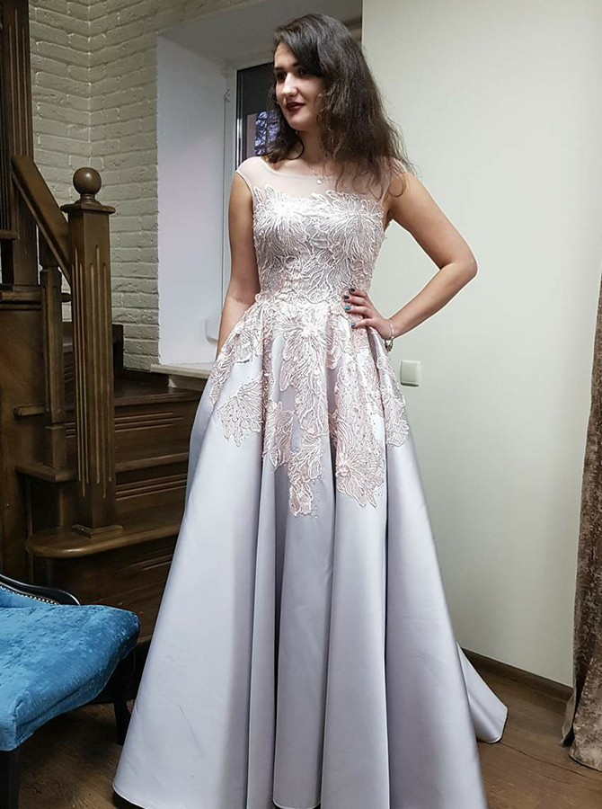 A-Line Bateau Backless Silver Prom Dress with Appliques Pockets