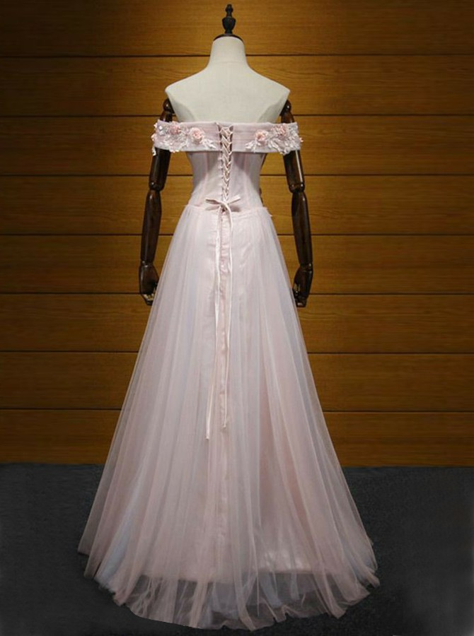 A-Line Off-the-Shoulder Sweep Train Pink Prom Dress with Appliques