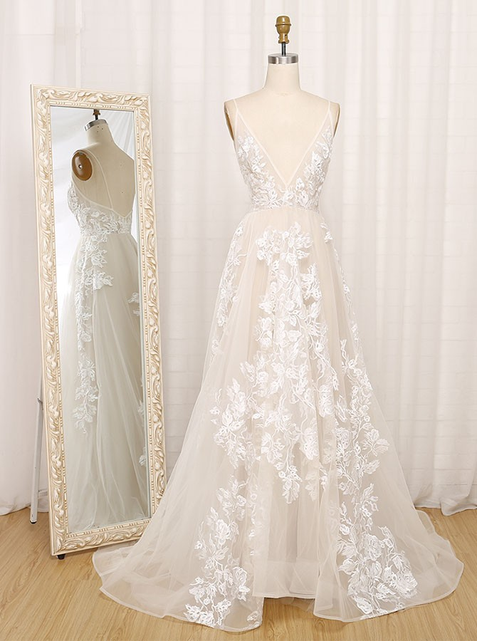 Elegant A-Line Deep V-Neck Sweep Train Wedding Dress with Appliques