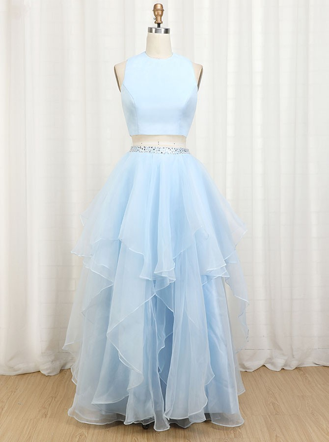 Two Piece Jewel Floor Length Prom Dress with Beading and Ruffles