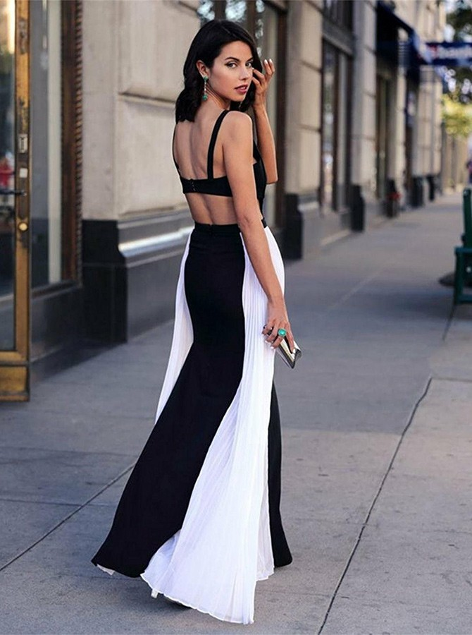 A-Line Square Long Black and White  Open Back Prom Dress