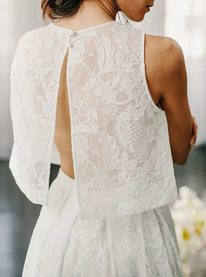 Two Piece Crew Sleeveless Sweep Train Open Back Ivory Lace Wedding Dress