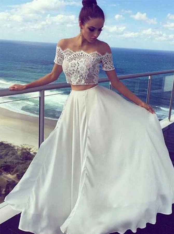 Two Piece Off-the-Shoulder White Chiffon Prom Dress with Lace