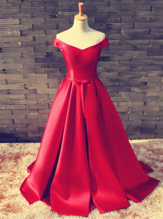 A-Line Off-the-Shoulder Floor-Length Red Satin Prom Dress
