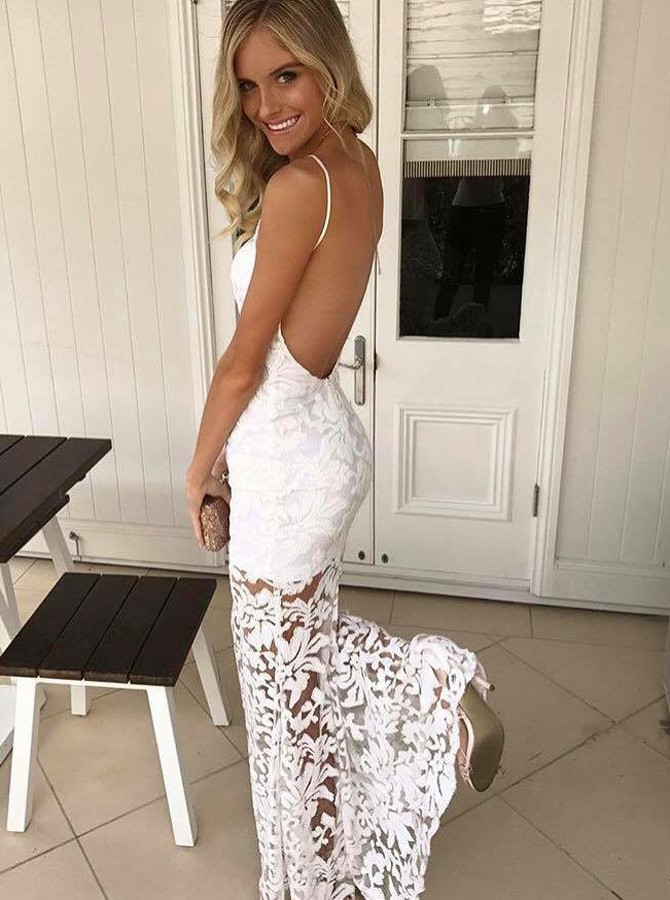 Mermaid Halter Backless Sweep Train White Lace Prom Dress with Pleats