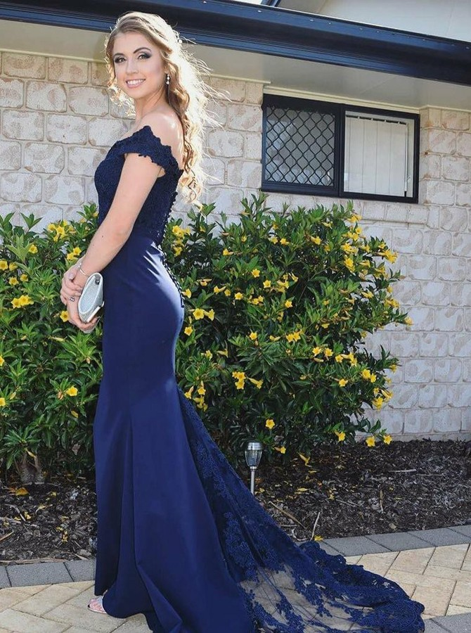 Mermaid Off-the-Shoulder Sweep Train Navy Blue Prom Dress with Appliques