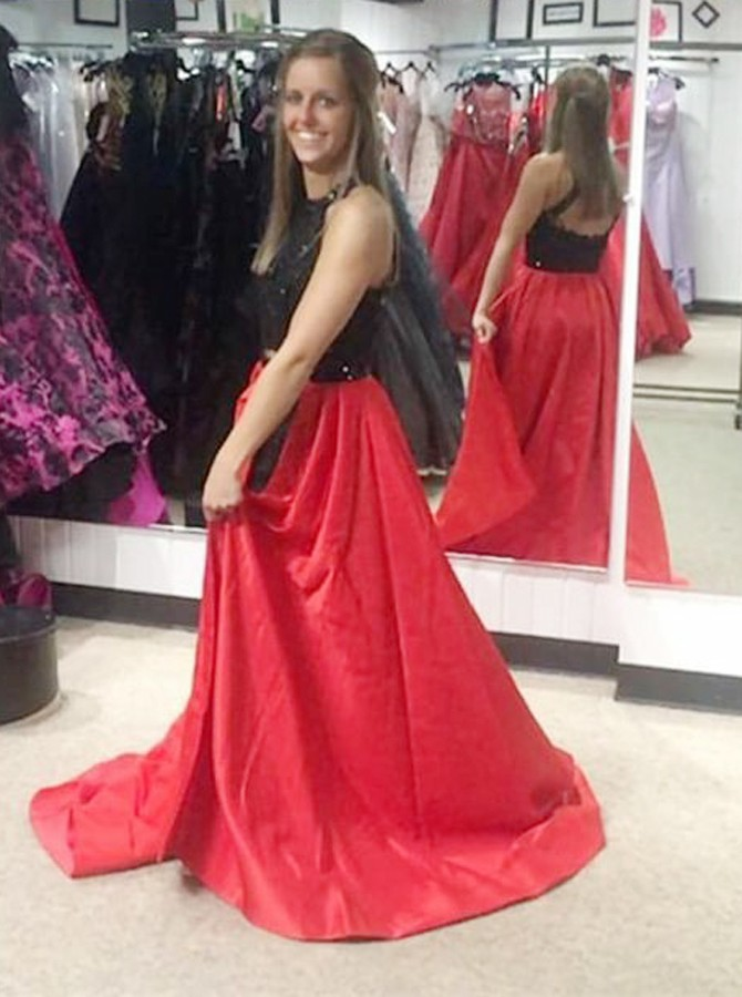 Two Piece Jewel Open Back Sweep Train Red Satin Prom Dress with Sequins