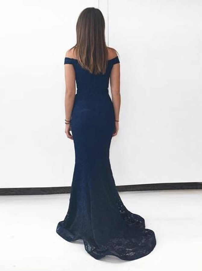 Mermaid Off-the-Shoulder Sweep Train Lace Prom Dress with Split