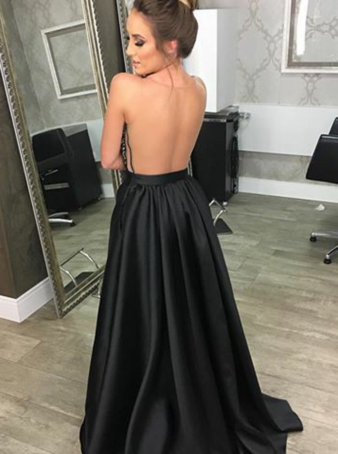 A-Line V-Neck Illusion Back Black Prom Dress with Beading Pockets