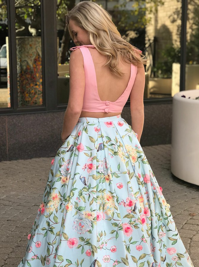 Two Piece V-Neck Backless Blue Printed Satin Prom Dress with Pockets