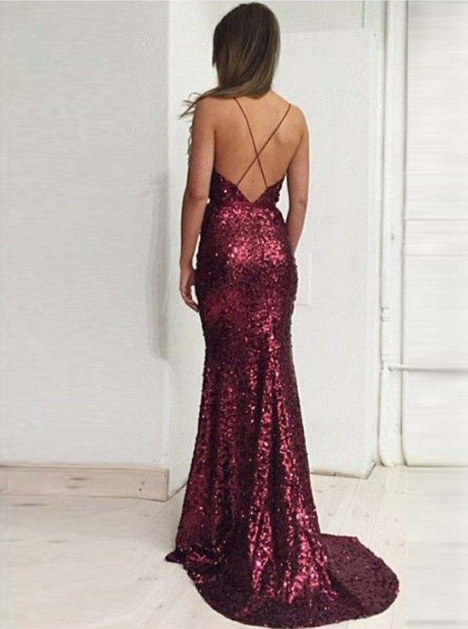 Mermaid Spaghetti Straps Sweep Train Red Sequined Prom Dress with Split