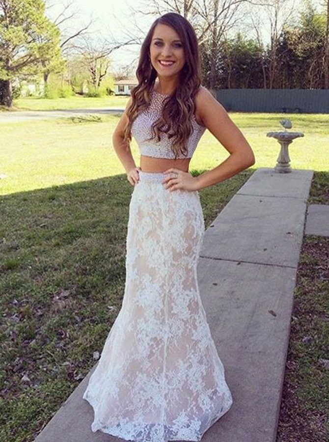 Two Piece Crew Neck Sweep Train Light Champagne Prom Dress with Beading