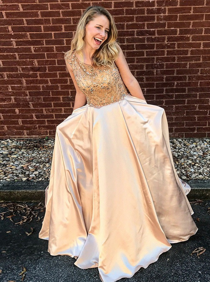 A-Line Round Neck Champagne Prom Dress with Beading Pockets