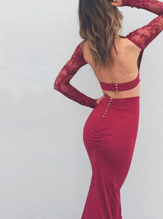 Two Piece Bateau Long Sleeves Floor-Length Burgundy Prom Dress with Lace