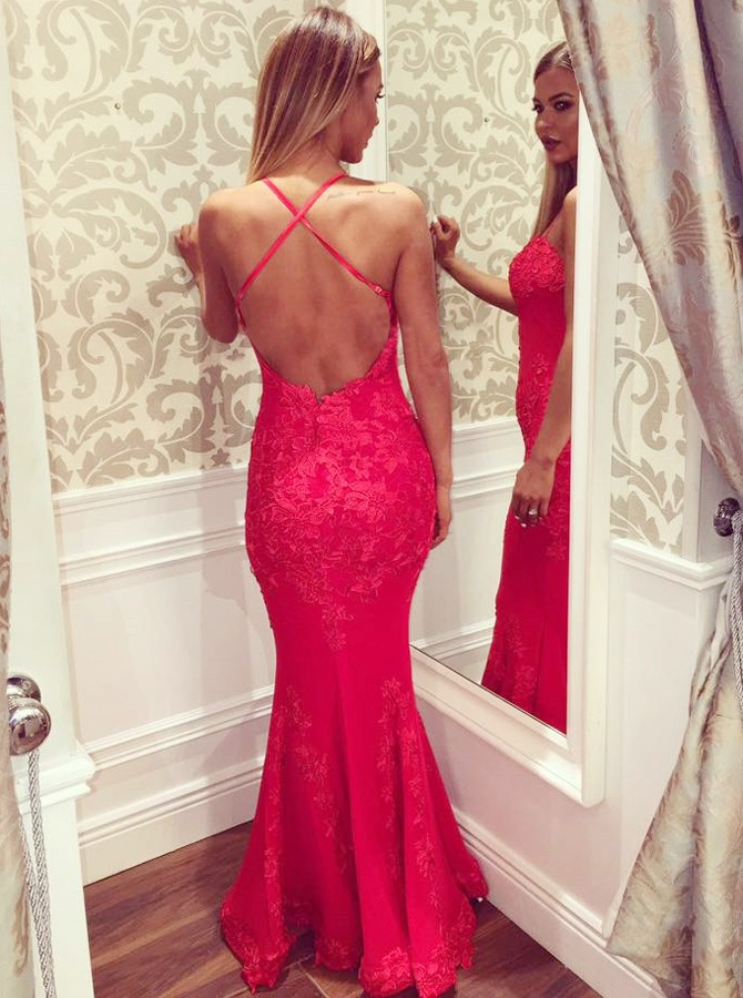 Mermaid Spaghetti Straps Floor-Length Hot Pink Prom Dress with Appliques