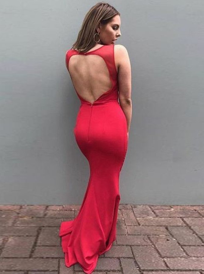 Mermaid Round Neck Open Back Floor-Length Red Elastic Satin Prom Dress