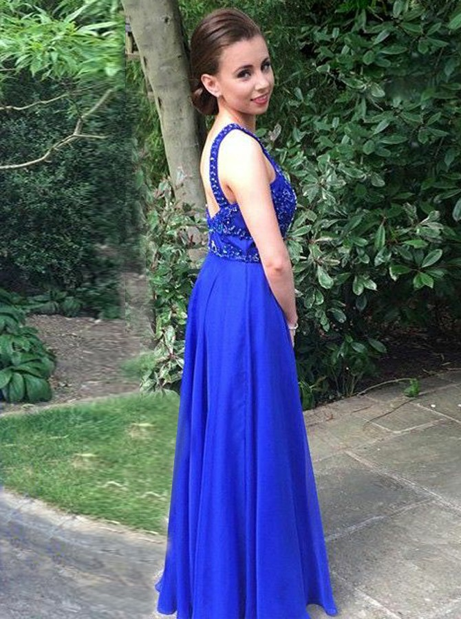 A-Line Round Neck Backless Royal Blue Chiffon Prom Dress with Beading