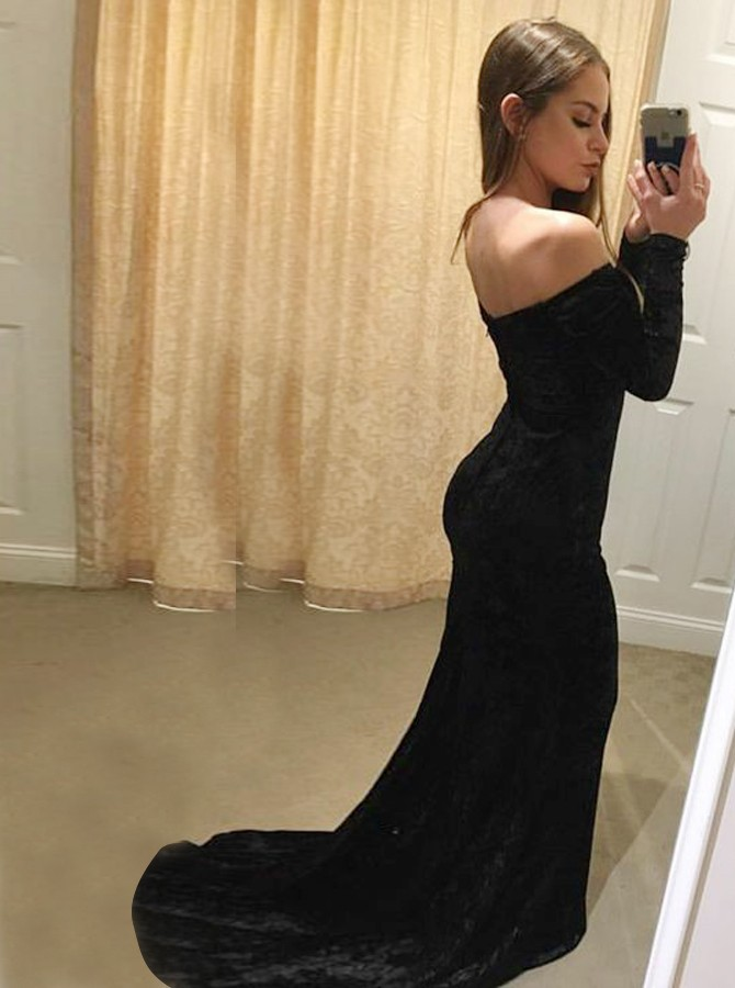 Mermaid Off-the-Shoulder Long Sleeves Sweep Train Black Velvet Prom Dress