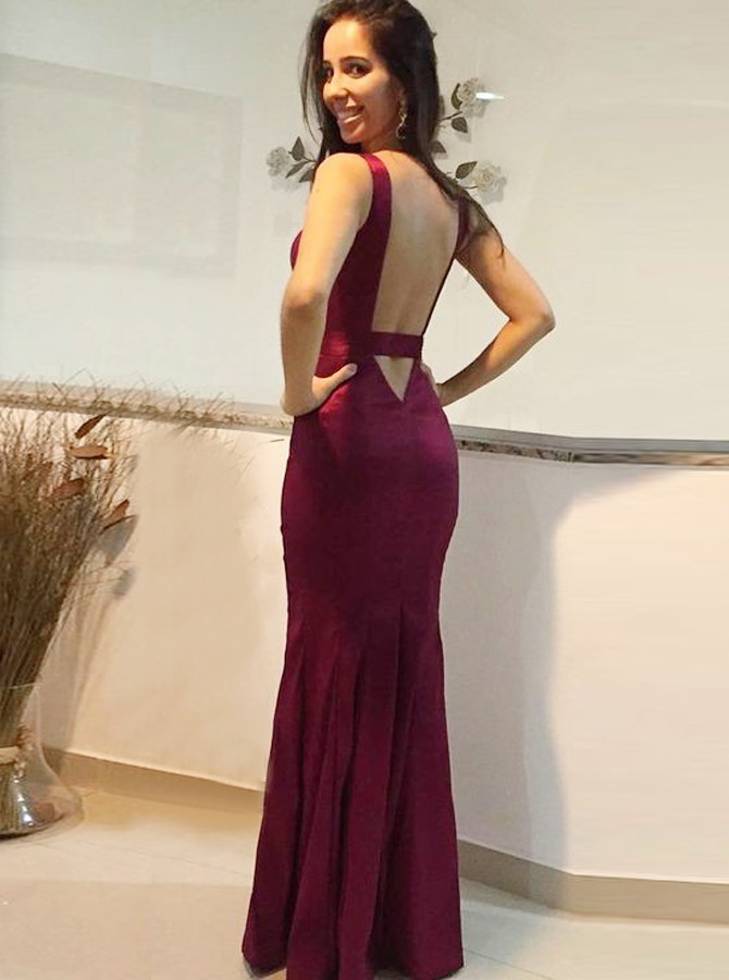 Mermaid Deep V-Neck Backless Floor-Length Dark Red Prom Dress