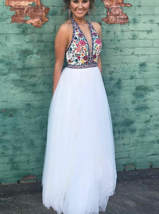 Two Piece High Neck Floor-Length White Prom Dress with Embroidery