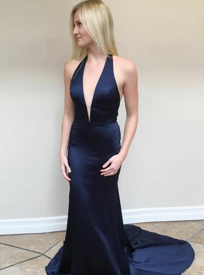 Mermaid Halter Backless Sweep Train Navy Blue Satin Prom Dress