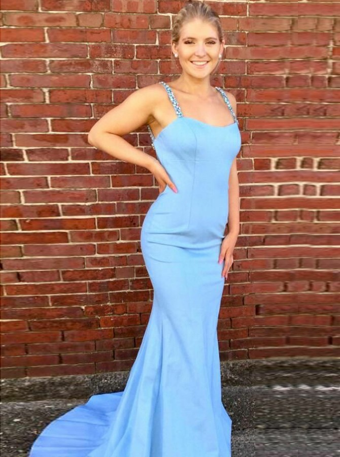 Mermaid Spaghetti Straps Sweep Train Blue Prom Dress with Beading