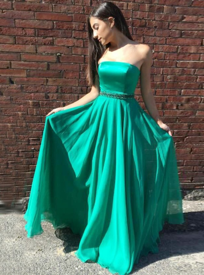 A-Line Strapless Floor-Length Green Chiffon Prom Dress with Beading