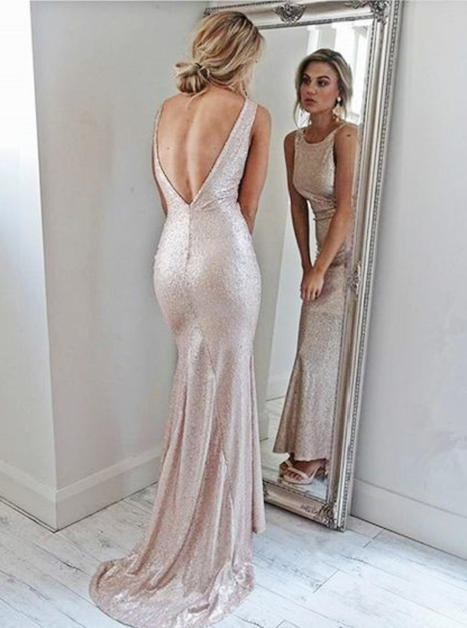 Mermaid Round Neck Backless Sweep Train Pink Sequined Prom Dress