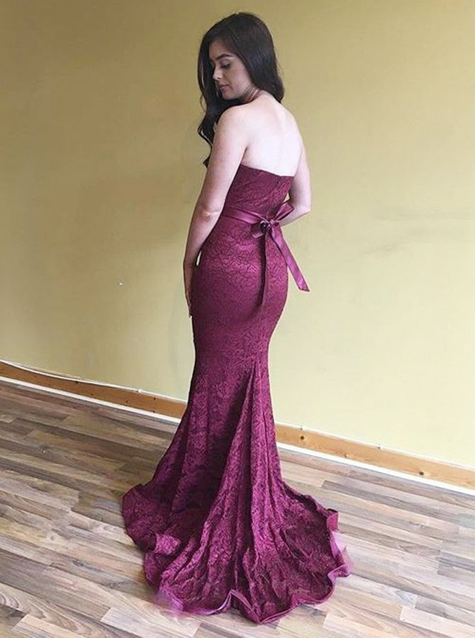 Mermaid Sweethert Sweep Train Burgundy Lace Prom Dress with Sash