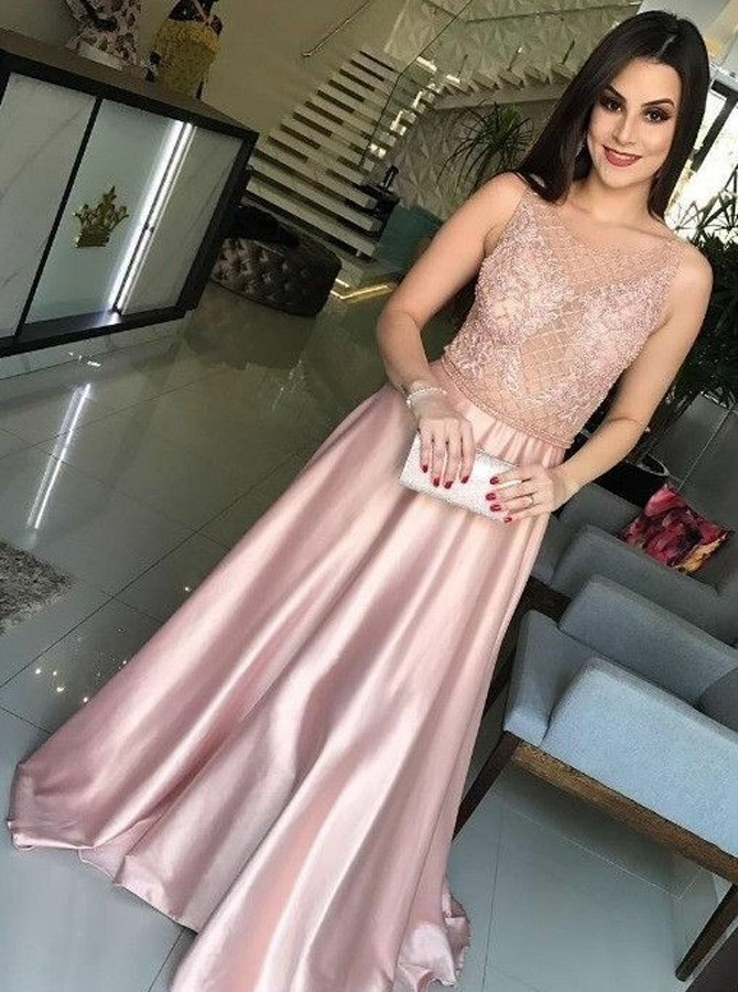 A-Line Round Neck Sleeveless Sweep Train Pink Prom Dress with Beading