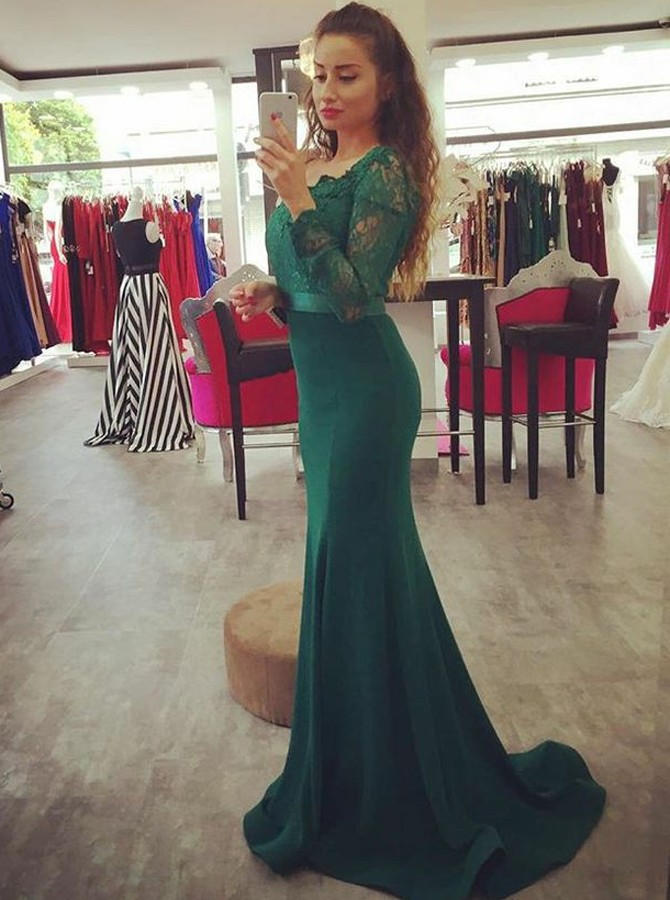 Mermaid Scoop Long Sleeves Sweep Train Hunter Prom Dress with Lace