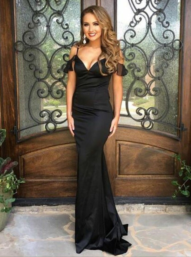 Mermaid Spaghetti Straps Backless Sweep Train Black Prom Dress
