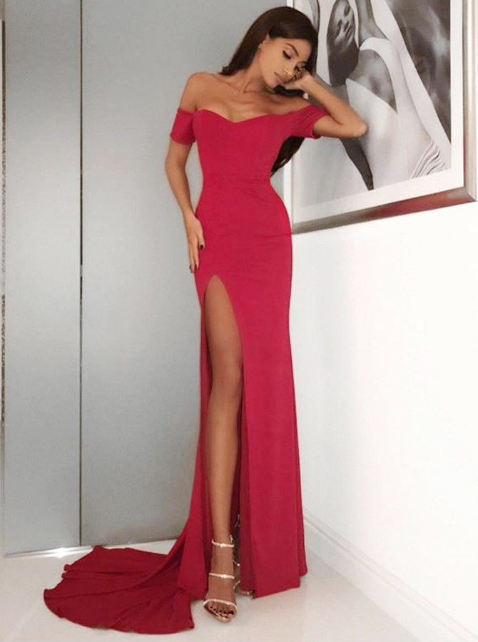 Mermaid Off-the-Shoulder Short Sleeves Sweep Train Red Prom Dress