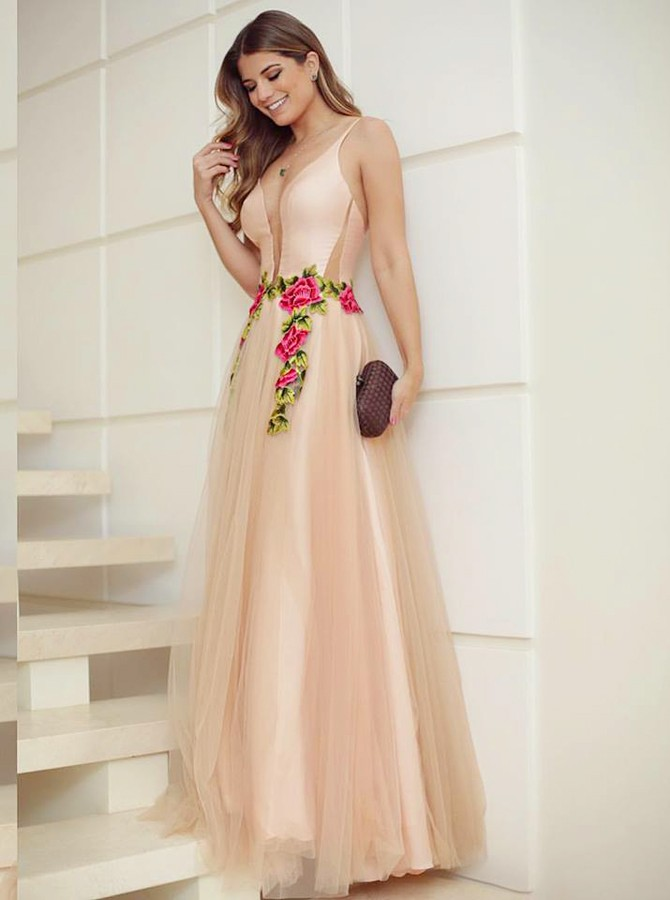 A-Line V-Neck Backless Floor-Length Light Champagne Prom Dress with Appliques
