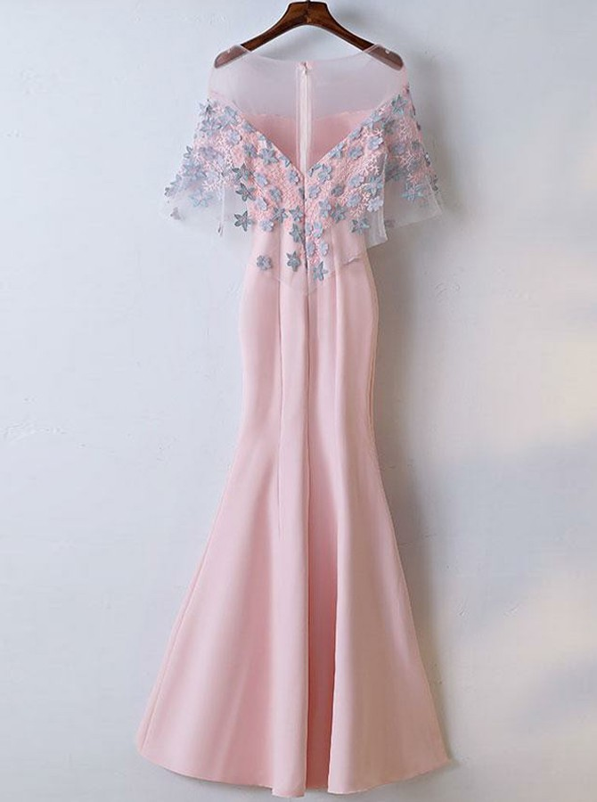 Mermaid Round Neck Floor-Length Pink Prom Dress with Appliques