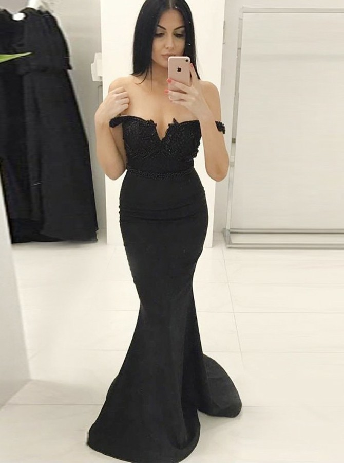 Mermaid Off-the-Shoulder Sweep Train Black Prom Dress with Appliques