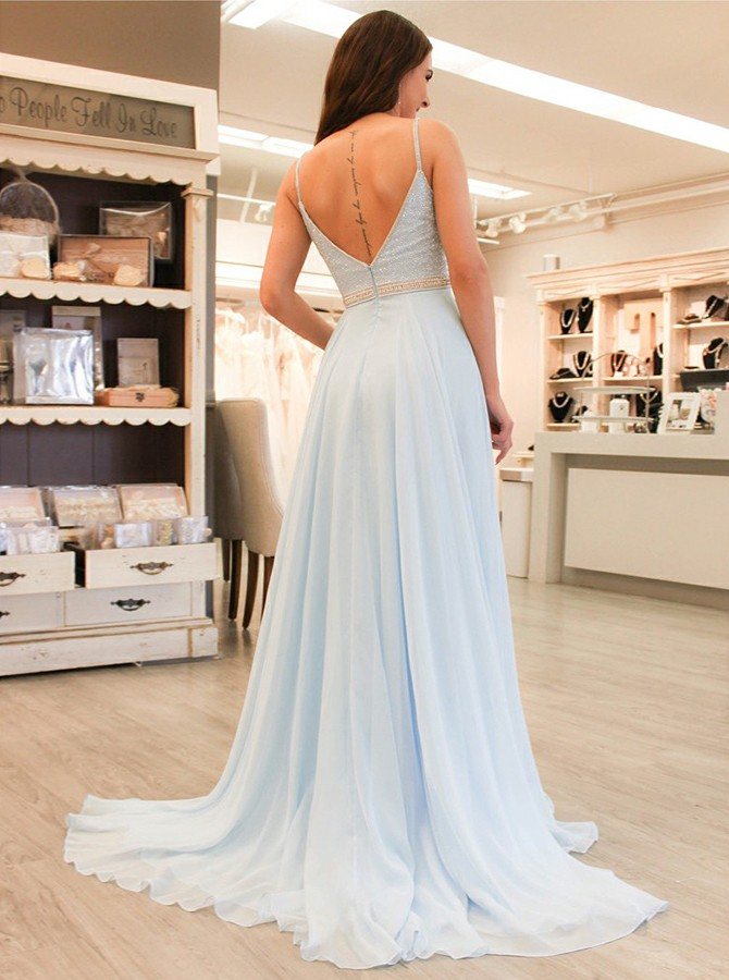 A-Line Spaghetti Straps Long Blue Chiffon Prom Dress with Beading