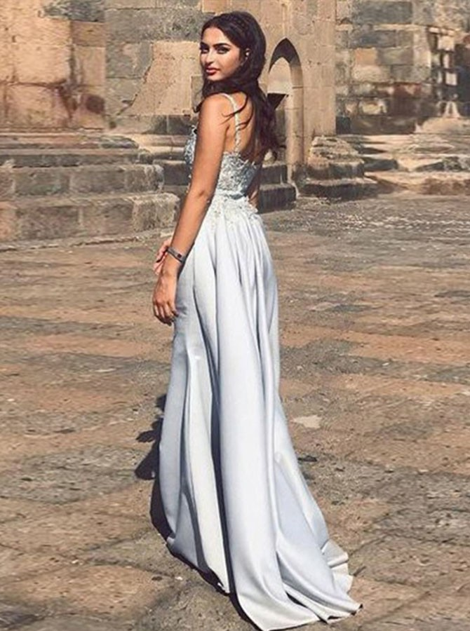 Mermaid Spaghetti Straps Detachable Silver Prom Evening Dress with Appliques