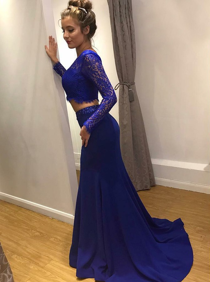 Two Piece Round Neck Long Sleeves Royal Blue Prom Dress with Lace