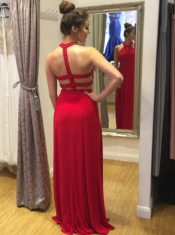 A-Line Round Neck Red Long Chiffon Prom Dress with Beading Keyhole