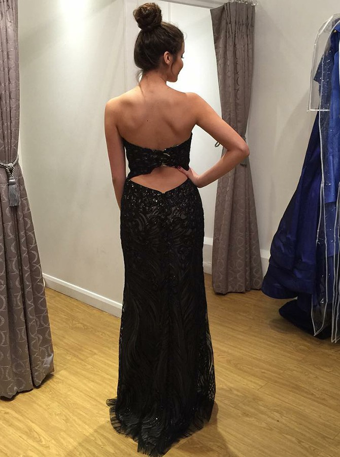 Mermaid Sweetheart Open Back Black Long Lace Prom Dress with Sequins