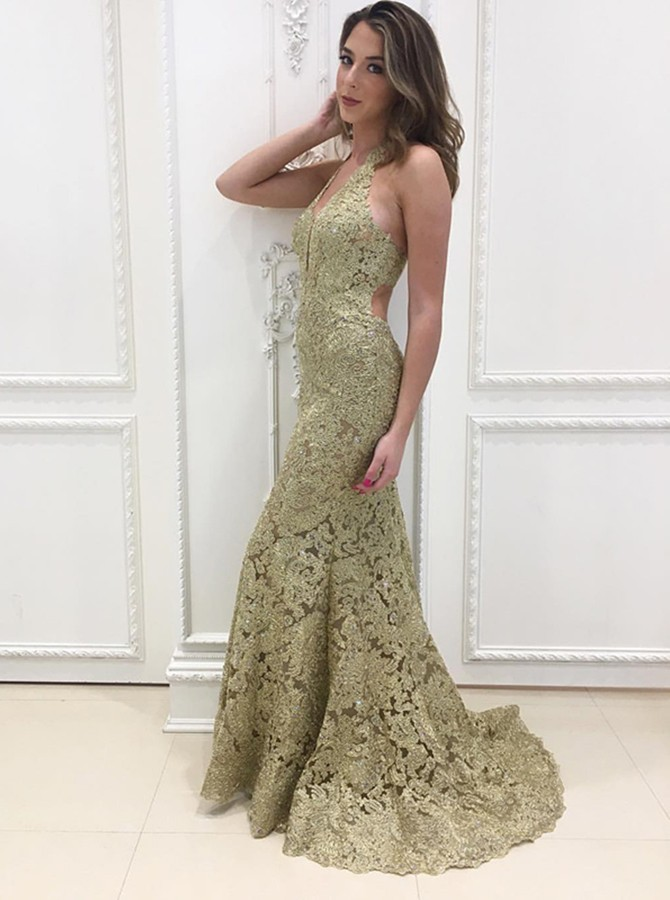 Mermaid Halter Backless Sweep Train Gold Lace Prom Dress
