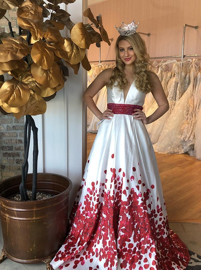 A-Line V-Neck Sweep Train White Printed Prom Dress with Beading