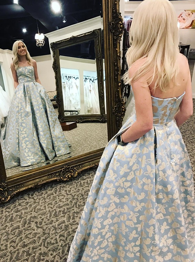A-Line Strapless Floor-Length Light Blue Printed Prom Dress with Pockets Pleats