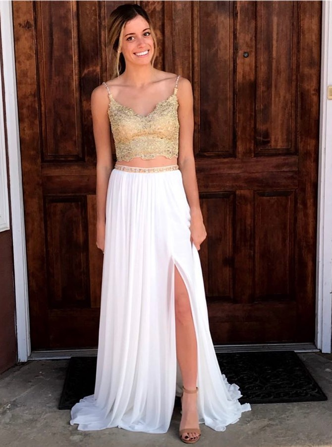 Two Piece Spaghetti Straps White Beaded Prom Dress with Lace Split